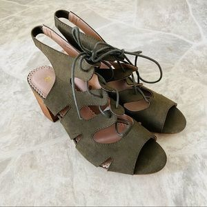 RESTRICTED olive green lace up open toe heels SZ 8